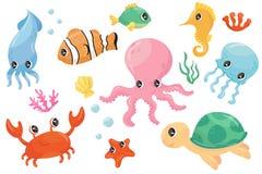 Ζωηρόχρωμο σύνολο διάφορων πλασμάτων θάλασσας Ψάρια κινούμενων σχεδίων, seahorse, χελώνα, καβούρι, μέδουσα, χταπόδι, seastar, φύκ ελεύθερη απεικόνιση δικαιώματος