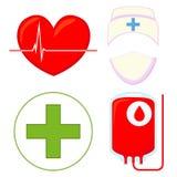 Ζωηρόχρωμο σύνολο εικονιδίων δωρεάς αίματος κινούμενων σχεδίων ελεύθερη απεικόνιση δικαιώματος