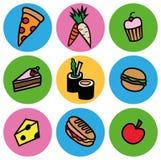 Ζωηρόχρωμο σύνολο εικονιδίων τύπων τροφίμων κινούμενων σχεδίων Στοκ Φωτογραφία