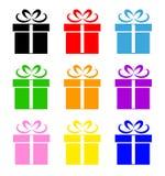 Ζωηρόχρωμο σύνολο συμβόλων κιβωτίων δώρων Στοκ εικόνα με δικαίωμα ελεύθερης χρήσης