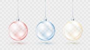 Ζωηρόχρωμο σύνολο σφαιρών Χριστουγέννων Κόκκινες μπλε και κίτρινες σφαίρες Χριστουγέννων που απομονώνονται στο διαφανές υπόβαθρο  απεικόνιση αποθεμάτων