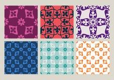 Ζωηρόχρωμο σύνολο άνευ ραφής floral εκλεκτής ποιότητας υποβάθρων σχεδίων Στοκ Εικόνες