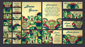 Ζωηρόχρωμο σύνολο απεικόνισης καρτών πρόσκλησης χαιρετισμού Συλλογή έννοιας σχεδίου λουλουδιών Στοκ φωτογραφίες με δικαίωμα ελεύθερης χρήσης