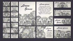 Ζωηρόχρωμο σύνολο απεικόνισης καρτών πρόσκλησης χαιρετισμού Συλλογή έννοιας σχεδίου λουλουδιών Στοκ Εικόνες