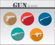 Ζωηρόχρωμο σύνολο εικονιδίων πυροβόλων όπλων Στοκ φωτογραφία με δικαίωμα ελεύθερης χρήσης