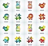 Ζωηρόχρωμο σύνολο επιχειρησιακών λογότυπων βραβείων Στοκ φωτογραφίες με δικαίωμα ελεύθερης χρήσης