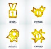 Ζωηρόχρωμο σύνολο επιχειρησιακών λογότυπων βραβείων Στοκ Φωτογραφίες