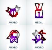 Ζωηρόχρωμο σύνολο επιχειρησιακών λογότυπων βραβείων Στοκ Εικόνες