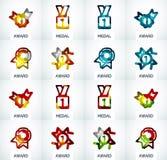 Ζωηρόχρωμο σύνολο επιχειρησιακών λογότυπων βραβείων Στοκ Εικόνα