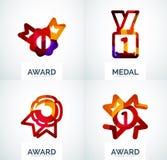 Ζωηρόχρωμο σύνολο επιχειρησιακών λογότυπων βραβείων Στοκ Φωτογραφία