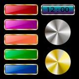 Ζωηρόχρωμο σύνολο κουμπιών Ιστού σε ένα μαύρο υπόβαθρο Στοκ Εικόνα
