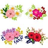 ζωηρόχρωμο σύνολο λουλουδιών στοιχείων σχεδίου Στοκ φωτογραφία με δικαίωμα ελεύθερης χρήσης