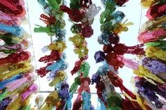 Ζωηρόχρωμο ταϊλανδικό φανάρι στον ουρανό διανυσματική απεικόνιση