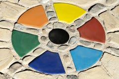 Ζωηρόχρωμο τετμημένο ντεκόρ πετρών κύκλων Γεωμετρικός κατασκευασμένος τελειώνει το υπόβαθρο πατωμάτων σπιτιών στοκ εικόνα