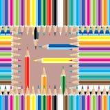 Ζωηρόχρωμο τετραγωνικό άνευ ραφής σχέδιο μολυβιών Στοκ Φωτογραφία