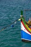 Ζωηρόχρωμο της Μάλτα τόξο βαρκών Luzzu στο σκέλος Sliema, Μάλτα στοκ φωτογραφίες