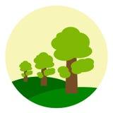 Ζωηρόχρωμο τοπίο απεικόνισης με το δρύινο δέντρο Στοκ φωτογραφίες με δικαίωμα ελεύθερης χρήσης
