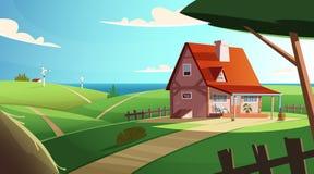 Ζωηρόχρωμο τοπίο επαρχίας με ένα όμορφο του χωριού σπίτι Αγροτική θέση Σύγχρονη διανυσματική απεικόνιση κινούμενων σχεδίων ελεύθερη απεικόνιση δικαιώματος