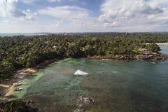 Ζωηρόχρωμο τοπίο της ακτής της Σρι Λάνκα Στοκ Φωτογραφίες
