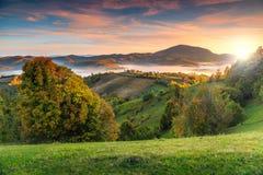 Ζωηρόχρωμο τοπίο φθινοπώρου με τη misty κοιλάδα, Holbav, Τρανσυλβανία, Ρουμανία, Ευρώπη στοκ εικόνες