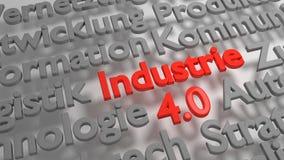 Ζωηρόχρωμο τρισδιάστατο Industrie 4 σύννεφο 0 λέξεων Στοκ Εικόνες