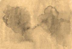 Ζωηρόχρωμο υγρό υπόβαθρο watercolor χρωμάτων χεριών σεπιών σε χαρτί, W Στοκ Φωτογραφίες