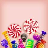 Ζωηρόχρωμο υπόβαθρο γλυκών προτύπων διαφορετικό Σύνολο lollipops, dragee καραμελών, peppermint, macarons, σοκολάτα, καραμέλα διανυσματική απεικόνιση