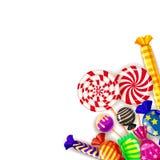 Ζωηρόχρωμο υπόβαθρο γλυκών προτύπων διαφορετικό Σύνολο lollipops, dragee καραμελών, peppermint, macarons, σοκολάτα, καραμέλα ελεύθερη απεικόνιση δικαιώματος