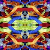 Ζωηρόχρωμο υπόβαθρο κορδελλών μεταξιού, σκηνικό για το λεύκωμα αποκομμάτων, τοπ άποψη Άνευ ραφής montage καλειδοσκόπιων σχεδίων Στοκ Εικόνες