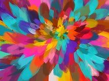Ζωηρόχρωμο υπόβαθρο κτυπημάτων βουρτσών λουλουδιών Αμερικανός διακοσμεί διανυσματική έκδοση συμβόλων σχεδίου την πατριωτική καθορ Στοκ Εικόνες