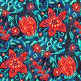 Ζωηρόχρωμο υπόβαθρο με τα κόκκινα λουλούδια, ακρυλική ζωγραφική Στοκ φωτογραφίες με δικαίωμα ελεύθερης χρήσης