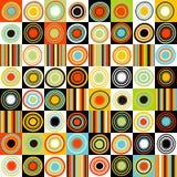 Ζωηρόχρωμο υπόβαθρο με τα σημεία, τους κύκλους και τα λωρίδες διανυσματική απεικόνιση