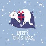 Ζωηρόχρωμο υπόβαθρο με τη γάτα, δώρο, κείμενο, Χαρούμενα Χριστούγεννα απεικόνιση αποθεμάτων