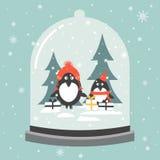 Ζωηρόχρωμο υπόβαθρο με τη σφαίρα χιονιού ελεύθερη απεικόνιση δικαιώματος
