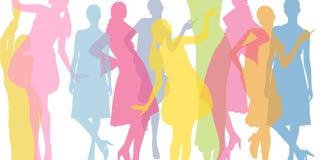 Ζωηρόχρωμο υπόβαθρο μόδας Διαφανείς χρωματισμένες σκιαγραφίες των κοριτσιών απεικόνιση αποθεμάτων