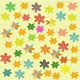 Ζωηρόχρωμο υπόβαθρο παιδιών με τα αστέρια και τα λουλούδια ελεύθερη απεικόνιση δικαιώματος