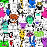 Ζωηρόχρωμο φωτεινό άνευ ραφής σχέδιο με τα ζώα Στοκ Φωτογραφία