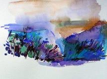 Ζωηρόχρωμο φωτεινό κατασκευασμένο αφηρημένο υπόβαθρο Watercolor χειροποίητο Μεσογειακό τοπίο Ζωγραφική του λόφου στην παραλία διανυσματική απεικόνιση