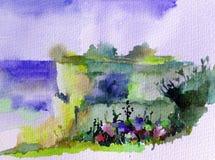 Ζωηρόχρωμο φωτεινό κατασκευασμένο αφηρημένο υπόβαθρο Watercolor χειροποίητο Μεσογειακό τοπίο Ζωγραφική του λόφου στην παραλία Στοκ Φωτογραφίες