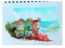 Ζωηρόχρωμο φωτεινό κατασκευασμένο αφηρημένο υπόβαθρο Watercolor χειροποίητο Μεσογειακό τοπίο Ζωγραφική του λόφου στην παραλία Στοκ Εικόνες