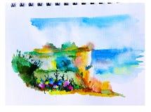Ζωηρόχρωμο φωτεινό κατασκευασμένο αφηρημένο υπόβαθρο Watercolor χειροποίητο Μεσογειακό τοπίο Ζωγραφική του λόφου στην παραλία Στοκ φωτογραφίες με δικαίωμα ελεύθερης χρήσης