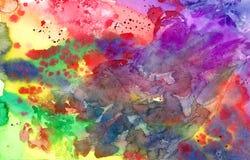 Ζωηρόχρωμο φωτεινό υπόβαθρο watercolor χρωμάτων αφηρημένο χρωματισμένο χέρι Στοκ φωτογραφία με δικαίωμα ελεύθερης χρήσης