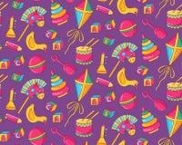 Ζωηρόχρωμο χαριτωμένο άνευ ραφής διανυσματικό σχέδιο παιχνιδιών παιδιών Στοκ Εικόνες