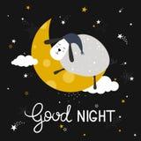 Ζωηρόχρωμο χαριτωμένο υπόβαθρο με τα πρόβατα, το φεγγάρι, τα αστέρια και το αγγλικό κείμενο Διανυσματική απεικόνιση με τα πουλιά  διανυσματική απεικόνιση
