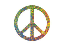Ζωηρόχρωμο χρωματισμένο σύμβολο ειρήνης που απομονώνεται στο λευκό Στοκ Φωτογραφία