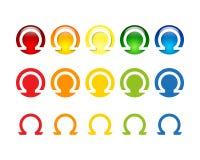 Ζωηρόχρωμο ωμέγα σχέδιο λογότυπων και εικονιδίων απεικόνιση αποθεμάτων