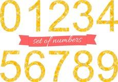 Ζωηρόχρωμο ύφος πηγών αριθμών πολυγώνων επίσης corel σύρετε το διάνυσμα απεικόνισης απεικόνιση αποθεμάτων