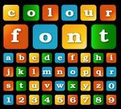 Ζωηρόχρωμο ύφος πηγών αλφάβητου επίσης corel σύρετε το διάνυσμα απεικόνισης Στοκ εικόνες με δικαίωμα ελεύθερης χρήσης