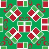 ζωηρόχρωμο δώρο Χριστου&gamma πρότυπο διακοπών άνευ ραφής Στοκ Φωτογραφίες