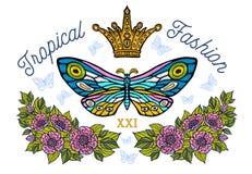 Ζωηρόχρωμο Bu πτήσης τροπικών λουλουδιών κεντητικής χρώματος πεταλούδων στοκ φωτογραφία με δικαίωμα ελεύθερης χρήσης